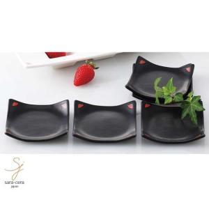 プチギフト E-tonカフェスクエア 正角皿 5個セット 黒 ブラック 洋食器 食器セット すごい新生活フェア2018|sara-cera