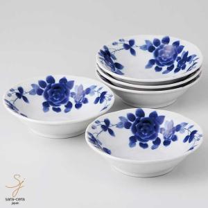 美濃焼 ブルーローズロマン 小鉢 14cm プチボール 5個セット 和食器 食器セット 小鉢|sara-cera