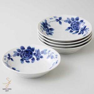 美濃焼 ブルーローズロマンサラダボール 17cm 5個セット 煮物鉢 和食器 食器セット|sara-cera