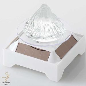 六色変化LED付 LEDソーラー台付 ガラス富士山 置物 ギフト 縁起物 雑貨 和食器|sara-cera
