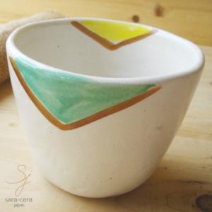 和食器 そば猪口 手描き さんかく模様のフリーカップ 陶器 和食器 和風 湯飲み 湯呑み 湯のみ|sara-cera