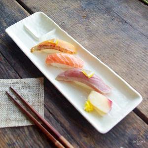 お刺身に!焼き魚に!長角仕切付皿 白 33.8cm クリームホワイト 長角 前菜 オードブル盛り合わせ|sara-cera