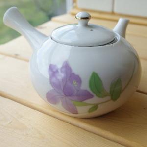 紫彩花 急須お茶ポット (内部に陶器の茶漉し付き)
