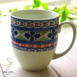 美しいボレスワヴィエツの街 ラピスラズリフローレット マグカップ (ポタリー風 ポタリーフィールド)|sara-cera