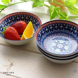 食器セット 4枚セット 美しいボレスワヴィエツの街 ラピスラズリフローレット フルーツヨーグルトボール 13.5cm (ポタリー風 ポタリーフィールド)食器セット|sara-cera