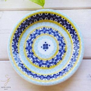 美しいボレスワヴィエツの街 メリーイエローフローレット プチディッシュ 小皿 12cm (ポタリー風 ポタリーフィールド)|sara-cera