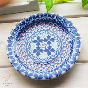 美しいボレスワヴィエツの街 ラピスラズリフローレット プチディッシュ 小皿 12cm (ポタリー風 ポタリーフィールド)|sara-cera
