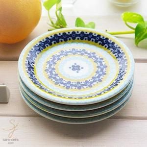 4枚セット 美しいボレスワヴィエツの街 メリーイエローフローレット プチディッシュ 小皿 12cm (ポタリー風 ポタリーフィールド)|sara-cera