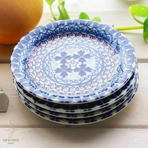 4枚セット 美しいボレスワヴィエツの街 ラピスラズリフローレット プチディッシュ 小皿 12cm (ポタリー風 ポタリーフィールド)|sara-cera