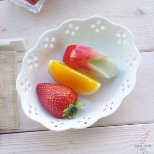 白い花と器の物語 オーバルミニボール(小)楕円皿 153mm 白い食器|sara-cera