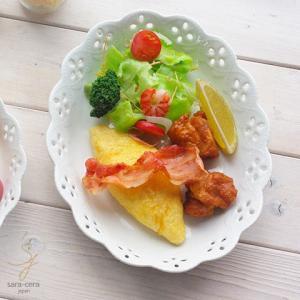 白い花と器の物語 オーバル パスタサラダボール(大)楕円皿 240mm 白い食器|sara-cera