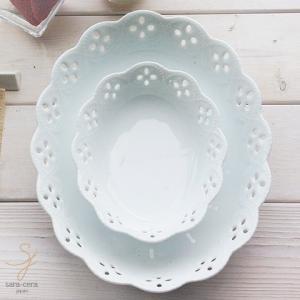 白い花と器の物語 2個セット オーバルボール 大・小セット 楕円皿 白い食器 食器セット ギフト モダン カフェスタイル|sara-cera