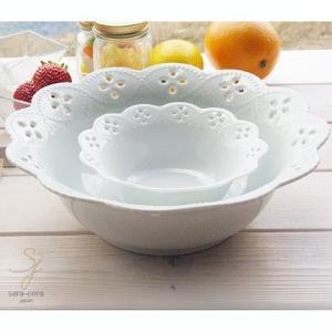 白い花と器の物語 2個セット 大・小ボールセット 白い食器 食器セット ギフト モダン カフェスタイル|sara-cera