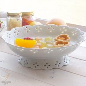 白い花と器の物語 ケーキスナック コンポート(オーバル 楕円) 大皿 盛皿 オードブル皿 高台 白い食器|sara-cera