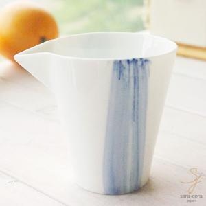 碧いブルーのきもち 染付け 片口ドレッシングポット 汁次 徳利 だし入れ (十草ライン 刷毛目)(※単品)軽量白磁 青 そば徳利|sara-cera