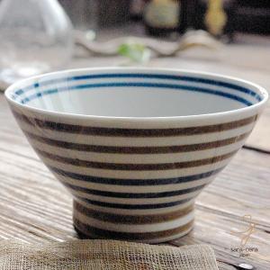 波佐見焼 くらわんか碗 ご飯茶碗 カジュアルスタイル(ボーダー ブラウン茶色&ブルー青)高台 和食器|sara-cera