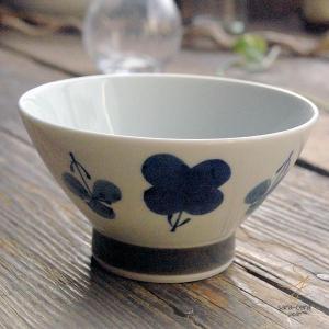 波佐見焼 くらわんか碗 ご飯茶碗 カジュアルスタイル(フラワー すみれ ブルー青)高台 和食器|sara-cera