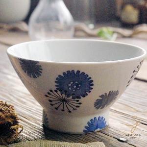 波佐見焼 くらわんか碗 ご飯茶碗 カジュアルスタイル(フラワー たんぽぽ ブルー青)高台 和食器|sara-cera