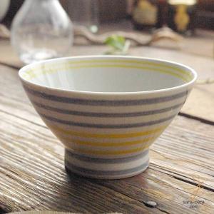 波佐見焼 くらわんか碗 ご飯茶碗 カジュアルスタイル(ボーダー グレー灰色&イエロー黄色)高台 和食器|sara-cera