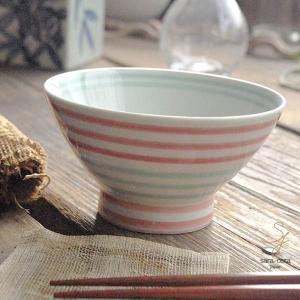波佐見焼 くらわんか碗 ご飯茶碗 カジュアルスタイル(ボーダー ピンク&グリーン緑)高台 和食器|sara-cera
