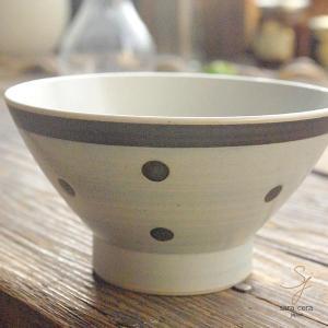 波佐見焼 くらわんか碗 ご飯茶碗 カジュアルスタイル(ブラウン茶色 ドット)高台 和食器|sara-cera