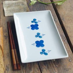 波佐見焼 揚げたてサクッと串揚げフライ皿 長角皿 フラワー すみれ ブルー青 和食器 魚皿 さんま皿|sara-cera