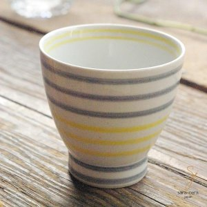 波佐見焼 くらわんか湯呑 カジュアルスタイル(ボーダー グレー灰色&イエロー黄色)和食器|sara-cera