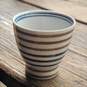 波佐見焼 くらわんか湯呑 カジュアルスタイル(ボーダー ブラウン茶色&ブルー青)和食器|sara-cera