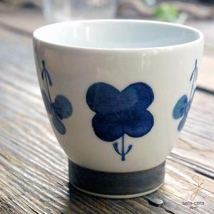 波佐見焼 くらわんか湯呑 カジュアルスタイル(フラワー すみれ ブルー青)和食器|sara-cera