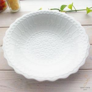 白い食器 美しいボレスワヴィエツの街 ホワイト ラインフラワー ボウル 盛り鉢|sara-cera