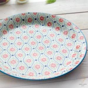 笑顔がみえる花は咲く ポレン お料理メインディナープレート 大皿(フラワーウエイブ) 花柄 リバティプリント|sara-cera