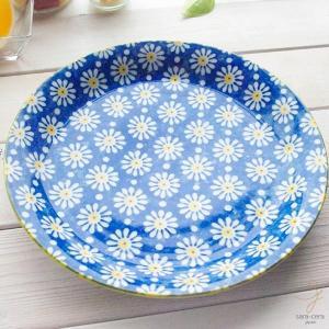 笑顔がみえる花は咲く ポレン お料理メインディナープレート 大皿(マーガレットブルー 青) 花柄 リバティプリント|sara-cera