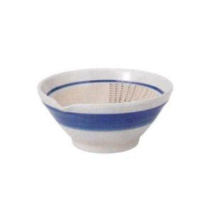 和食器 片口 すり鉢 藍染付け刷毛目 便利なすりおろし付き すり鉢9.5cm 擂り鉢 胡麻すり 鍋料理 美濃焼 スリ鉢 ごま 山芋 とろろ 丼 どんぶり ごまあえ|sara-cera