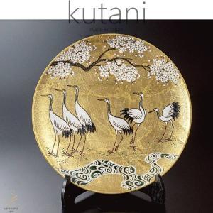 九谷焼 12号飾プレート 皿 金箔彩群鶴 和食器 日本製 ギフト おうち ごはん うつわ 陶器|sara-cera