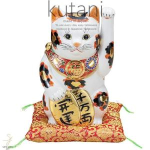 九谷焼 8号小判招き猫 金三毛 和食器 日本製 ギフト おうち ごはん うつわ 陶器|sara-cera