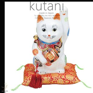 九谷焼 9号小槌持招き猫 白盛 和食器 日本製 ギフト おうち ごはん うつわ 陶器|sara-cera
