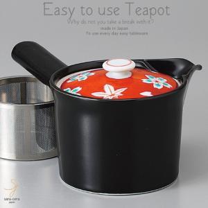和食器 お茶 有田焼 赤濃春秋黒 ステンレス 茶漉し付 急須 ティーポット 茶器 食器 緑茶 紅茶 ハーブティー おうち うつわ 陶器 日本製|sara-cera