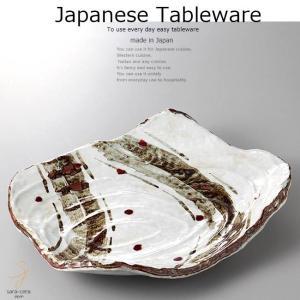 和食器 錆絵辰砂渦彫盛込皿 パーティー 35×27×6.5cm おうち うつわ カフェ 食器 陶器 日本製 美濃焼 大皿 インスタ映え|sara-cera