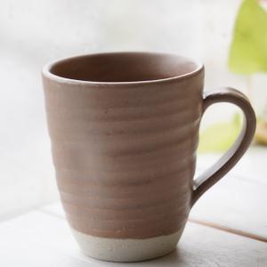和食器 松助窯 職人の手でそ?っとくぼませたマグカップ ブラウン茶色 オフィス コーヒー おしゃれ 紅茶 器 美濃焼 陶器 食器 手づくりカフェ|sara-cera
