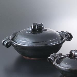 和食器 土鍋 艶黒8.0鍋 万古焼 お鍋 直火 食器 おうち ごはん あったか 陶器|sara-cera