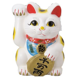 白ネコ左 7号 ネコ ねこ 縁起物 置物 ギフト 厄除け 開運 雑貨 金運 招き猫|sara-cera