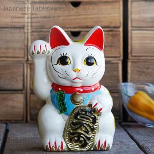 白ネコ右 7号 ネコ ねこ 縁起物 置物 ギフト 厄除け 開運 雑貨 金運 招き猫|sara-cera