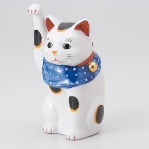縁起物赤絵手長猫 右 ネコ ねこ 縁起物 置物 ギフト 厄除け 開運 雑貨 金運 招き猫|sara-cera