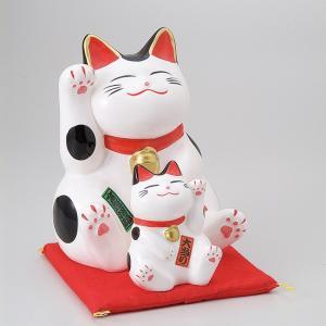 縁起物孫猫バンク白 ネコ ねこ 縁起物 置物 ギフト 厄除け 開運 雑貨 金運 招き猫|sara-cera