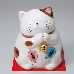 幸せおねがい猫大白 ネコ ねこ 縁起物 置物 ギフト 厄除け 開運 雑貨 金運 招き猫|sara-cera