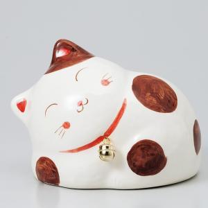 横ネコバンク大 ブチ ネコ ねこ 縁起物 置物 ギフト 厄除け 開運 雑貨 金運 招き猫|sara-cera