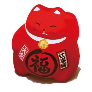 風水BKまる福招き猫・赤 ネコ ねこ 縁起物 置物 ギフト 厄除け 開運 雑貨 金運 招き猫|sara-cera