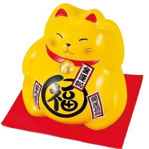 ジャンボBKまる招き猫・黄色 イエロー ネコ ねこ 縁起物 置物 ギフト 厄除け 開運 雑貨 金運 招き猫|sara-cera