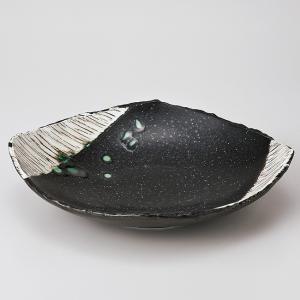 和食器 黒織部角櫛目型平鉢 中鉢 ボウル おうち ごはん うつわ 陶器 カフェ 日本製 おしゃれ 煮物 サラダ|sara-cera