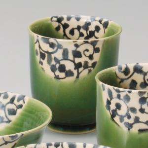 和食器 唐草織部湯呑 大 湯のみ 湯飲み コップ お茶 緑茶 カフェ おうち うつわ 陶器 美濃焼 日本製 おしゃれ|sara-cera